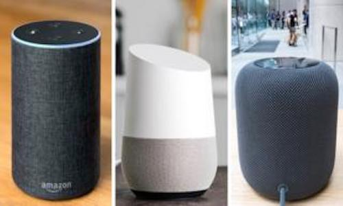 A photo of smart-tech home products from Apple, Google, and Amazon.